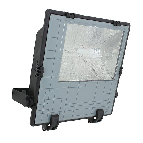 METAL HALIDE FLOODLIGHT 400w BLACK PLASTIC BODY, GLASS DIFFUSER