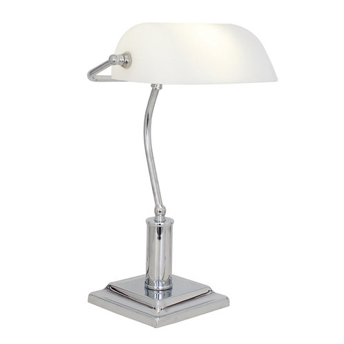 T.Lamp Bankers Chrome Opal Shade