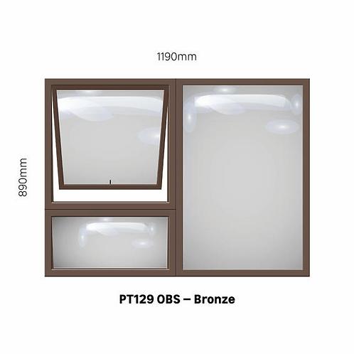 PT129 - OBS Aluminium Window Bronze 1190 x 890