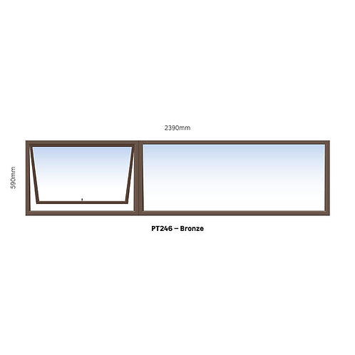 PT246 Aluminium Window Bronze 2390 x 590