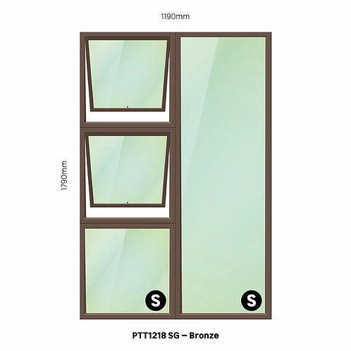 PTT1218 Aluminium Window Bronze 1190 x 1790