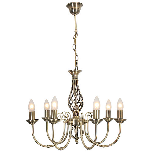 Bella 7 Light Chandelier Antique Brass Excl.7 X E14 40W Candle