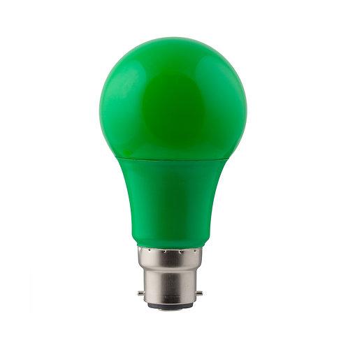 LED Coloured A60 Globe B22 7w Green