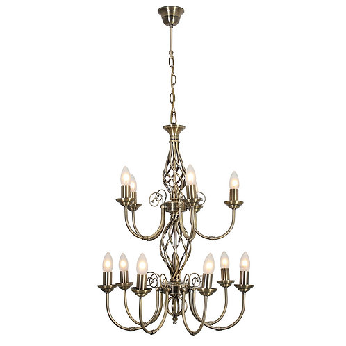 Amy 12 Light Chandelier Cream Excl.12 x E14 40w Candle