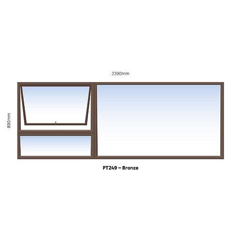 PT249 Aluminium Window Bronze 2390 x 890