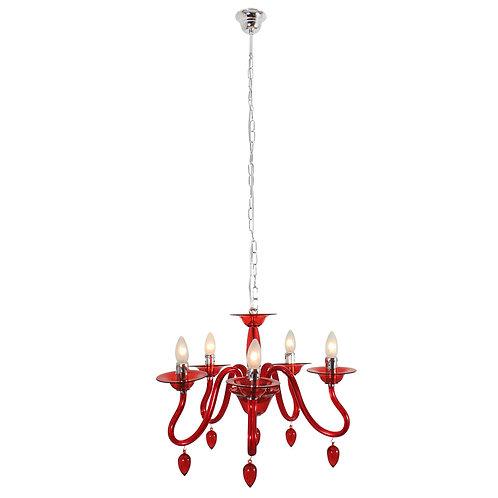 Orlene Chandelier 5Lt Acrylic Red (E14)