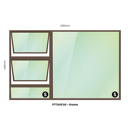 PTT2415 Aluminium Window Bronze 2390 x 1490