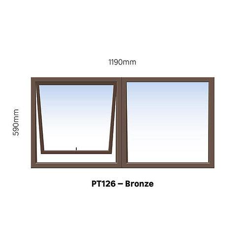 PT126 Aluminium Window Bronze 1190 x 590