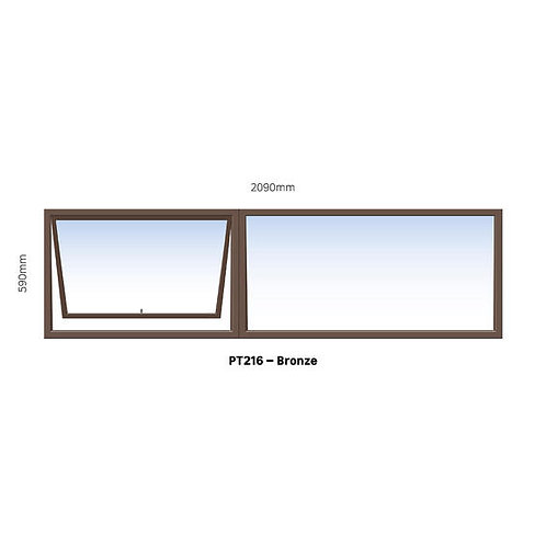 PT216 Aluminium Window Bronze 2090 x 590