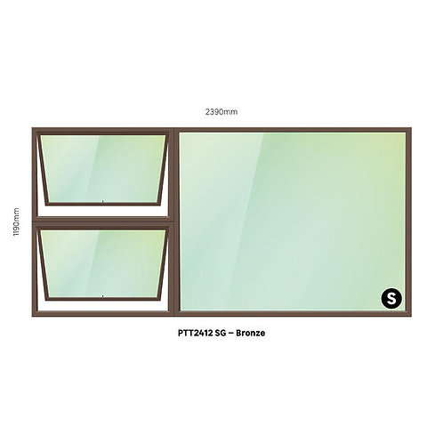 PTT2412 Aluminium Window Bronze 2390 x 1190