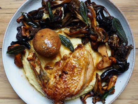 Guinea fowl with polenta and wild mushrooms