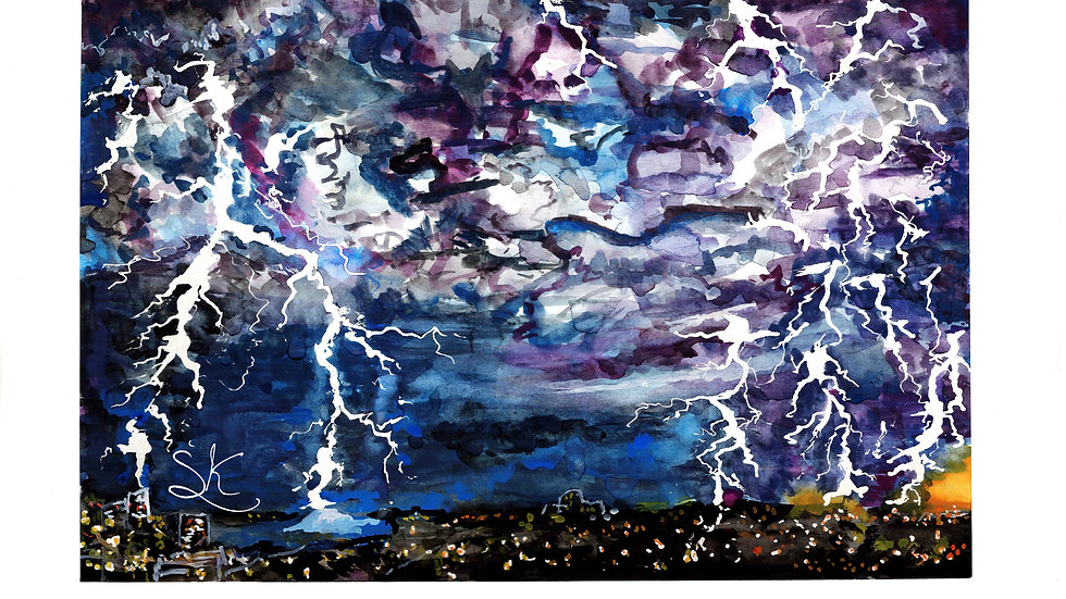 Lightning Original Gouache Painting