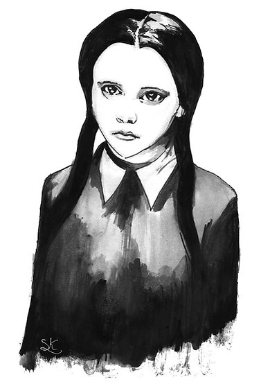 Wednesday Addams Signed Print