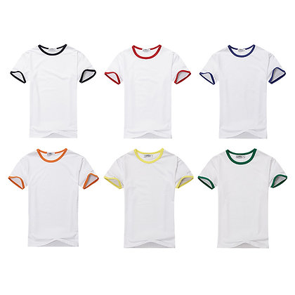 G00013 CVC Short Sleeves Ringer Round Neck T Shirt