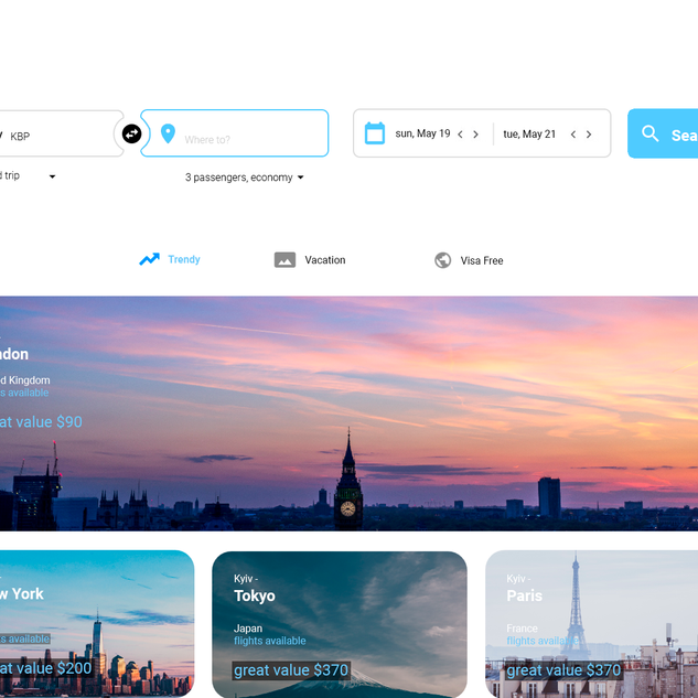 Flights booking service Tripify.me - Desktop version