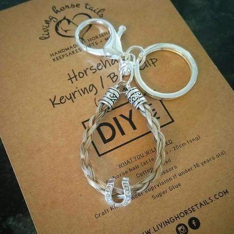 DIY horsehair keyring bag clip kit with