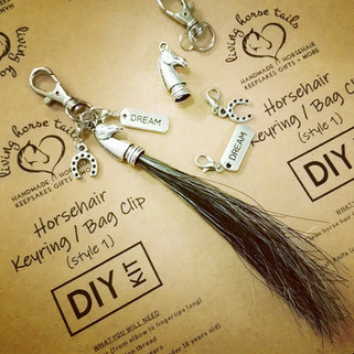 DIY horsehair keyring bag clip kit with