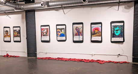 """Quilted Portaits- displayed in 2018 solo show """"Find The World Where You Are"""""""