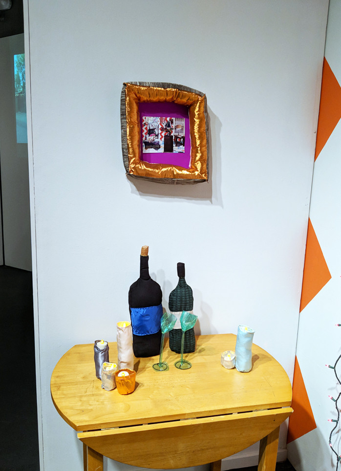 This Is How I See... wine, side table, framed collage detail