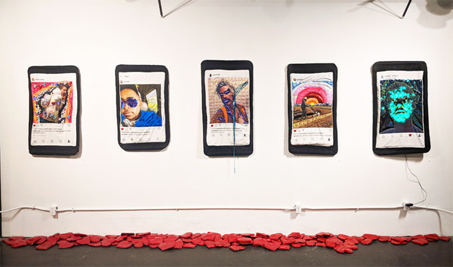 "Quilted Portaits- displayed in 2018 solo show ""Find The World Where You Are"""