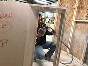 Gus Spraying Cabinets