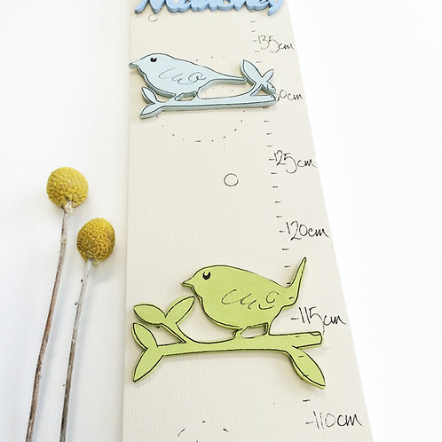 Personalised Birds on a Twig Cream Height Chart