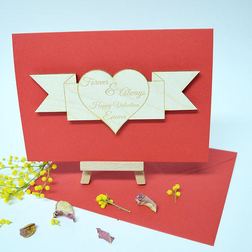 Wooden Love Heart Personalised Valentines Day Card