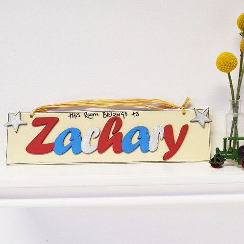 Personalised Name Plaque (Red, Blue, White)