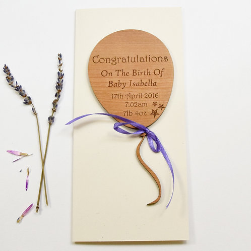 Personalised New Baby Balloon Motif Card