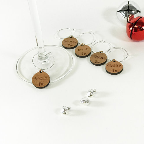 Personalised Wooden Christmas Wine Glass Charms