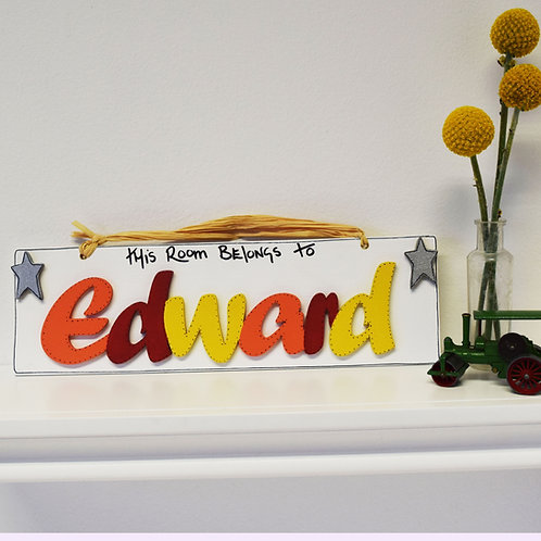Personalised Name Plaque (Orange, Red, Yellow)