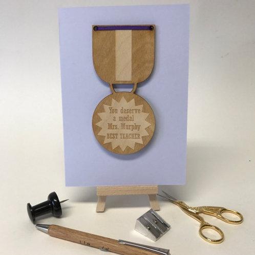 Personalised Best Teacher Medal Card