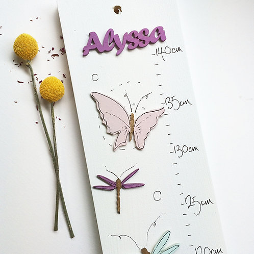Personalised Butterfly & Dragonfly Height Chart