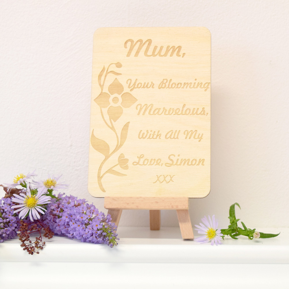 Personalised Mother's Day wooden postcard keepsake