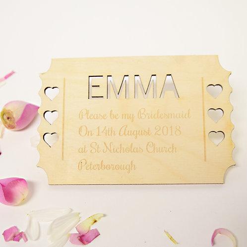 Personalised Bridesmaid Invitation Ticket Keepsake