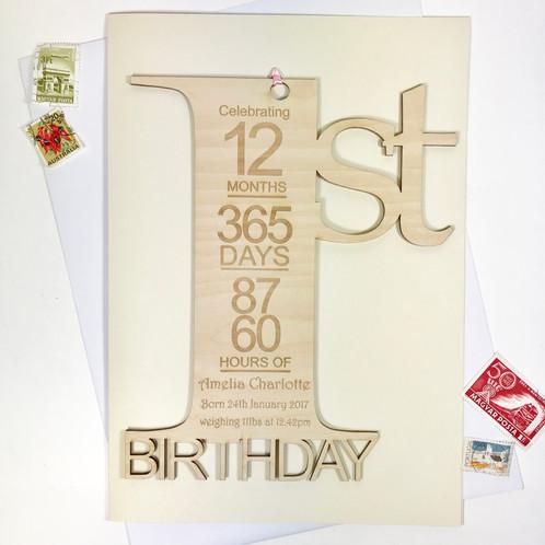First Birthday Card Personalised 1st Wooden Keepsake