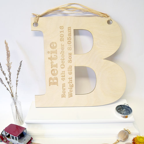 Personalised Initial Letter Baby Gifts Engraved With Birth Details