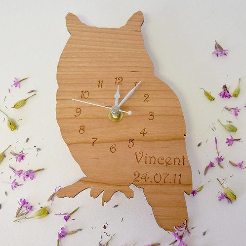 Personalised Wooden Owl Clock