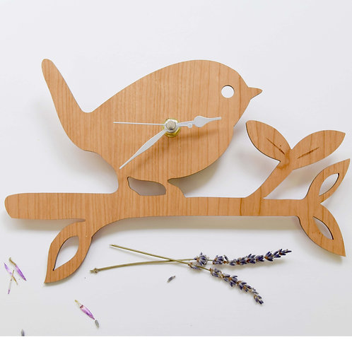 Wooden Bird On a Twig Clock