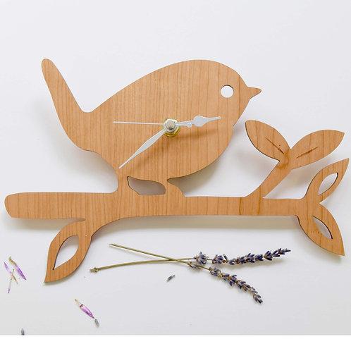 Wooden Bird On a Twig Clock