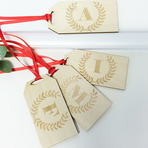 Personalised Wooden Initial Letter Parcel Tags