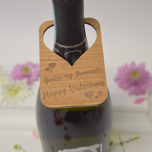 Personalised card alternative wine bottle labels for Valentines day