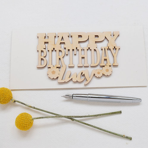 Laser Cut Words Personalised Birthday Card