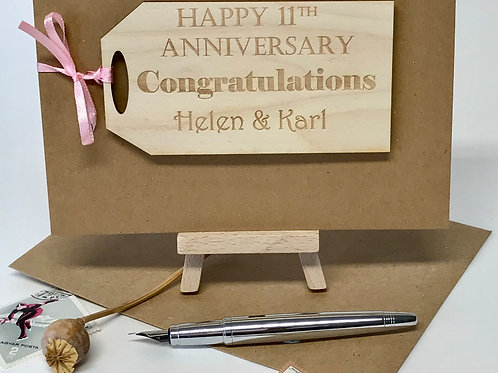 Personalised Wedding Anniversary Gift Tag Card