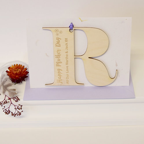 Wooden Initial Letter Mother's Day Card