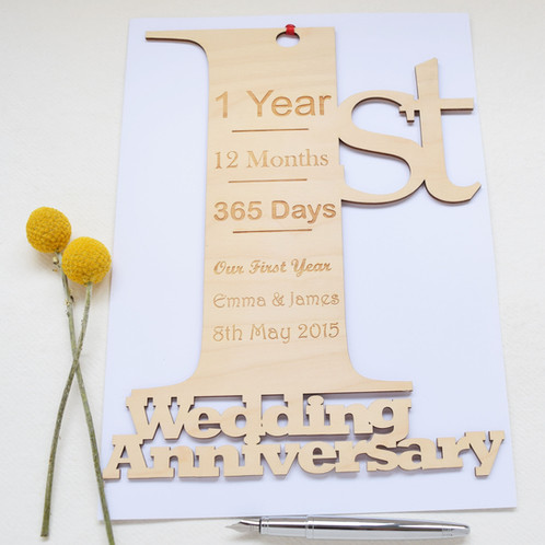 Personalised giant 1st anniversary card unique contemporary 1st wedding anniversary card our cards are a gift in themselves we will engrave the names of your choice as well as your own special m4hsunfo
