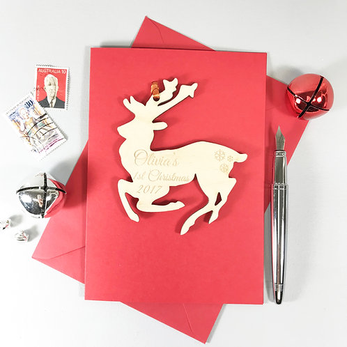 Wooden Personalised Reindeer Keepsake Card and Decoration