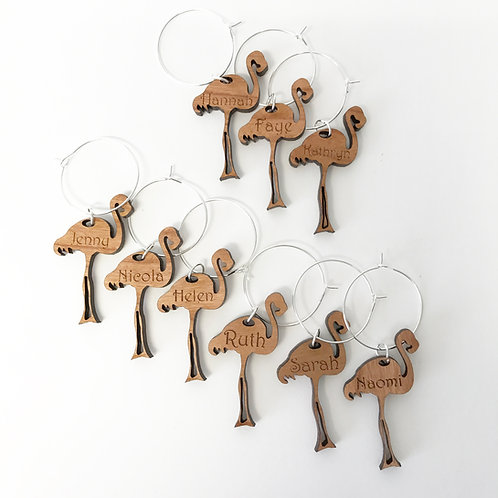 Personalised Wine Glass Charms Flamingo Design
