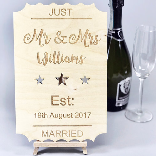 Personalised 'Just Married' Wooden Wedding Sign
