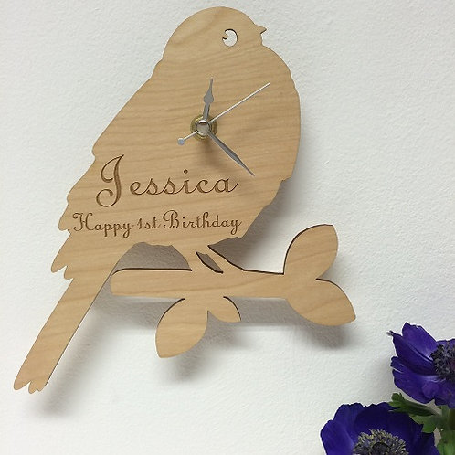 Personalised Wooden Bird on a Twig Clock